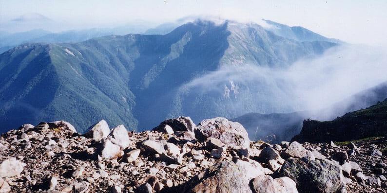 南アルプス 聖岳より赤石岳を望む