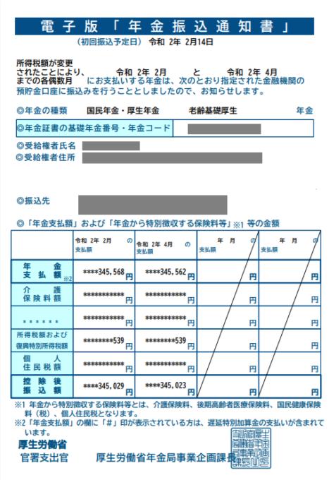 年金振込通知書令和2年2月
