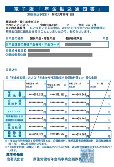 年金振込通知書令和元年10月